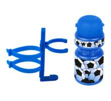 Фляга 5-340213 детская пластиковая 0,3л синяя ″футбол″+держатель пластик с универсальным креплением VENTURA KIDS