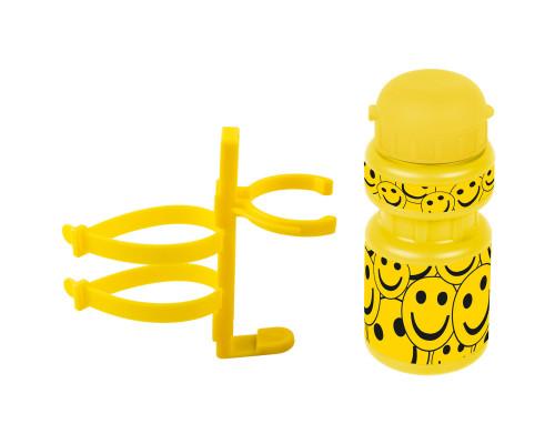 Фляга 5-340214 детская пластиковая 0,3л желтая ″смайл″+держатель пластик с универсальным креплением VENTURA KIDS
