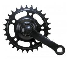 Система 5-350221 передняя 1 скоростная сталь 12″ 1/2х1/8 28зуб. шатуны 89мм пластик покрытие черная