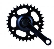 Система 5-350750 передняя 1 скоростная сталь 12-18″ 1/2х3/32 32зуб. шатуны 102мм пластик покрытие черная