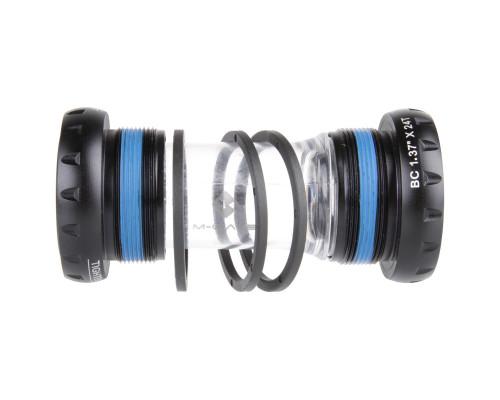 Каретка-картридж 5-359432 алюминиевые чашки, 2 герметика, промышленные подшипники, диаметр 24/22мм, для SRAM, с адаптером 2.5мм 94г, BB BSA EX US M-WAVE