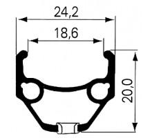 Обод .26″ 5-380270 двойной пистонированный GBS (559х24.2/18.6х20мм 36 отверстий) серебристый DRAGON L-719 REMERX