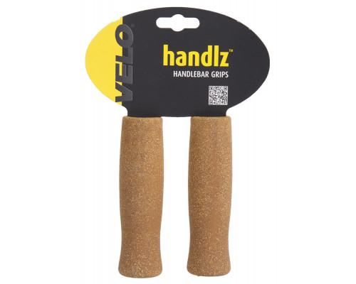 Ручки 5-410340 на руль корковые+резина 130мм коричневый эргоном. (на блистере) VELO