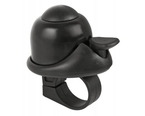 Звонок 5-420066 алюминиевый /пластик мини D=36мм громкий и долгий звук черный (на блистере) M-WAVE