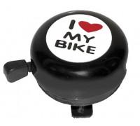 Звонок 5-420115 сталь детский черный с рисунком ″I love my bike″