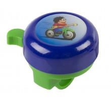 Звонок 5-420119 сталь/пластик детский с 3D-рисунком 6 цветов в ассортитенте (на блистере) M-WAVE