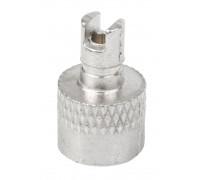 Колпачок для ниппеля 5-518819 авто 2в1 с ключиком для монтажа/демонтажа золотника ниппеля серебристый (1шт)