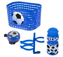 Корзина+фляга+звонок 5-650041 комплект синий ″футбол″ VENTURA KIDS