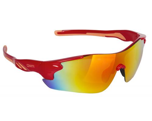 Очки 5-710908 солнцезащитные зеркальные+чехол+прозр./оранж./желт. линзы иридиевые красная оправа RAYON ONE MIGHTY