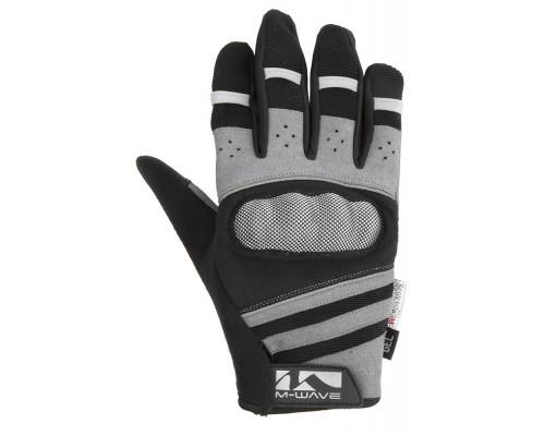 Перчатки 5-719857 длинные пальцы гель/лайкра дышащие д/сенсора антискользящие размер M с защитой черно-серые M-WAVE