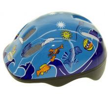 Шлем .детский/подростк. 5-731000 с сеточкой 6 отверстий 52-56см SEA WORLD/голубой M-WAVE