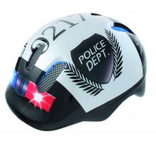 Шлем .детский/подростк. 5-731004 с сеточкой 6 отверстий 52-56см POLICE/черно-белый M-WAVE