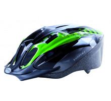 Шлем 5-731036 с сеточкой 11 отверстий, 54-58см черно-бело-зеленый M-WAVE ACTIVE