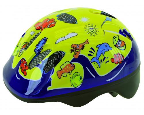 Шлем .детский/подростк. 5-731076 с сеточкой 6 отверстий 52-56см SEA WORLD/желтый M-WAVE