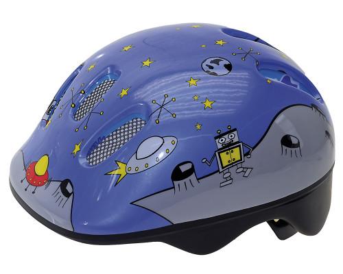 Шлем .детский/подростк. 5-731125 с сеточкой 6 отверстий 52-56см SPACE/голубой светоотраж. M-WAVE