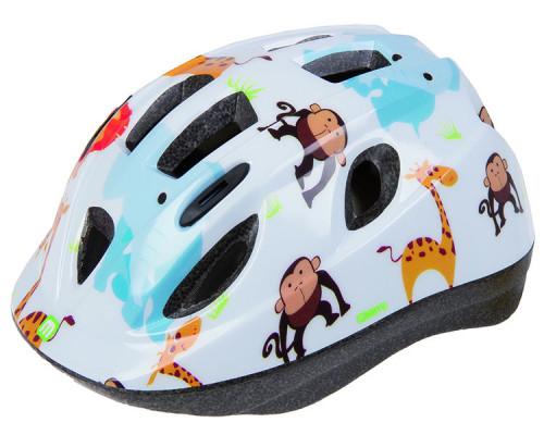 Шлем .детский/подростк. 5-731880 с сеточкой 12 отверстий, INMOLD 48-54см ZOO/белый M-WAVE JUNIOR