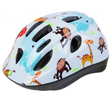 Шлем .детский/подростк. 5-731881 с сеточкой 12 отверстий, INMOLD 54-56см ZOO/белый M-WAVE JUNIOR