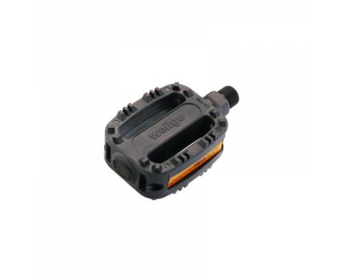 Педали 6-14120 пластик LU-P20 с отражателями, детские резьба 1/2″ черные WELLGO