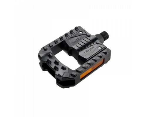 Педали 6-14178 алюминиевые/пластик F178 складные двусторонние с отражателями ось Cr-Mo 328г черные WELLGO