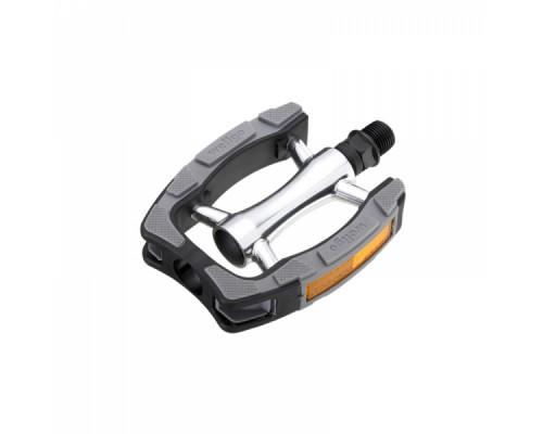 Педали 6-14198 алюминиевые C098 ось Cr-Mo с пластик ободом с отражателями, с резиновыми накладками, серебристый-черные WELLGO