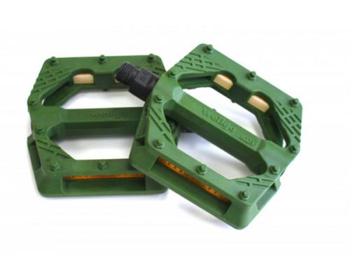 Педали 6-14225 нейлон BMX/Downhill Green B223N широкие ось Cr-Mo зеленые WELLGO