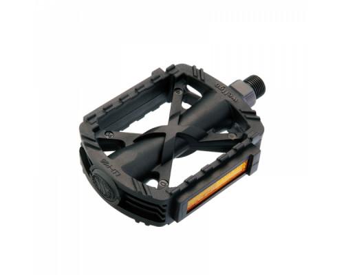 Педали 6-150026 пластиковые LU-P26 широкие с отражателями 332 г черные WELLGO