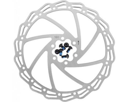 Тормозной диск 6-171806 (ротор) для дискового тормоза HJ-DXR1806 180мм+6 болтов нержавейка сталь серебристый ALHONGA