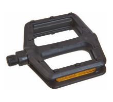 Педали 6-630099 пластик широкие 105х111х24мм с отражателями 380г/пара черные VP-536