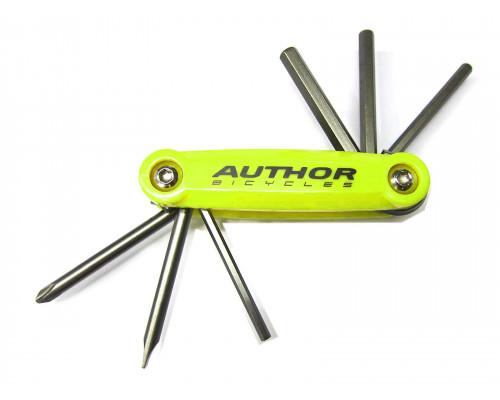 Набор 8-10000038 универсальный ToolBox 6 складной шестигранники +/- отвертки Сr-Va желтый AUTHOR