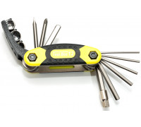 Набор 8-10000041 универсальный ToolBox 12 складной шестигранники +/- отвертки, боксы никелированые неон-желт-серый AUTHOR