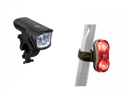 Фара+фонарь 8-12040135 1диод/3функции Xray 150 Lm/ Duplex X7 20 Lm 2д/2ф красный с батарейками AUTHOR