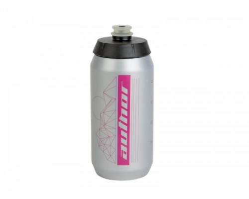 Фляга 8-14060097 100% биопластиковая AB-FLASH X9 0.55л 54гр. c большим клапаном, серебристо-розовая AUTHOR