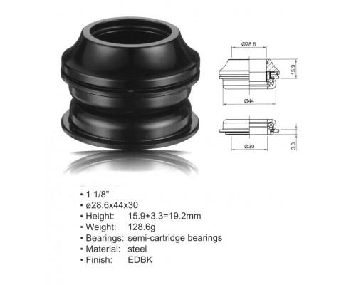 Рулевой набор 8-23950101 ACO-HS20 Int. сталь полукартридж 1 1/8″ AHEAD 28,6/44/30 черный AUTHOR