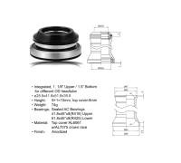 Рулевой набор 8-23950151 алюминиевый интегрированный картридж 1 1/8″-1,5″ 28,6/41,8/51.8/39,8мм 45`x45` черный AUTHOR