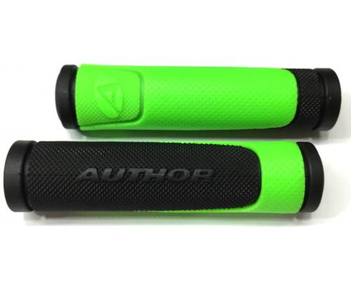 Ручки 8-33452005 на руль AGR-600-D3 130мм резиновые 2-х компонентные черно-неоново-зеленые AUTHOR