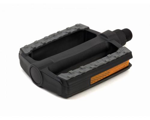 Педали 8-34053022 пластиковые, с резиновыми накладками APD-128 Nsl, с отражателями,95х80х19мм 322г черные AUTHOR