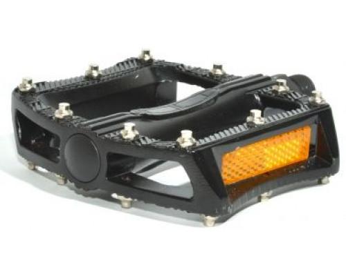 Педали 8-34200021 алюминиевые BMX APD-F11-Alu литые широкие, сменые шипы, с отражателями черные AUTHOR
