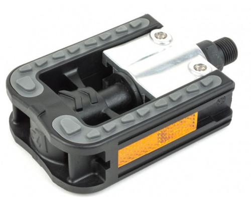 Педали 8-34399092 алюминий/пластик APD-113 SIMPLEX складные двухсторонние, антискользящие накладка, черно-серые