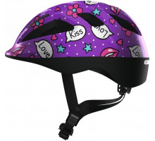 Шлем 05-0081857 Smooty 2.0 детский размер M(50-55) с регулировкой, 210гр, 14отверстий, сетка от насекомых, фиолетовые сердечки ABUS