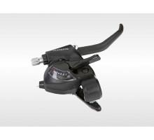 Переключатель TOURNEY ASTEF41R7CL 2-4200 шифтер+тормозная ручка (2пальца) 7скоростей, трос 2400мм правый черный EF41 SHIMANO