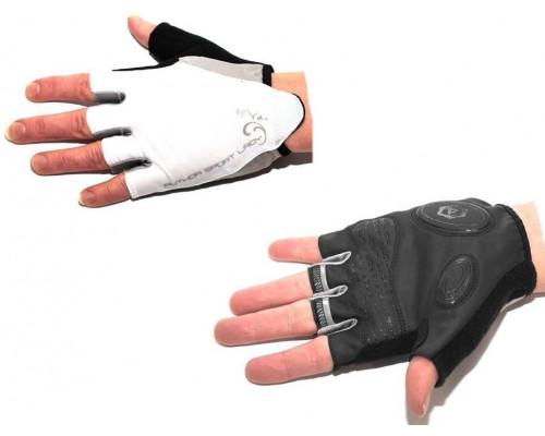 Перчатки 8-7130569 Lady Sport Gel женский черно-белые размер M гель/лайкра/синт.кожа с петельками AUTHOR